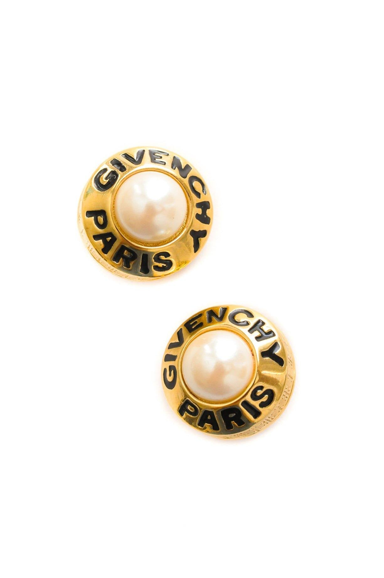 Givenchy Pearl Logo Clip-on Earrings