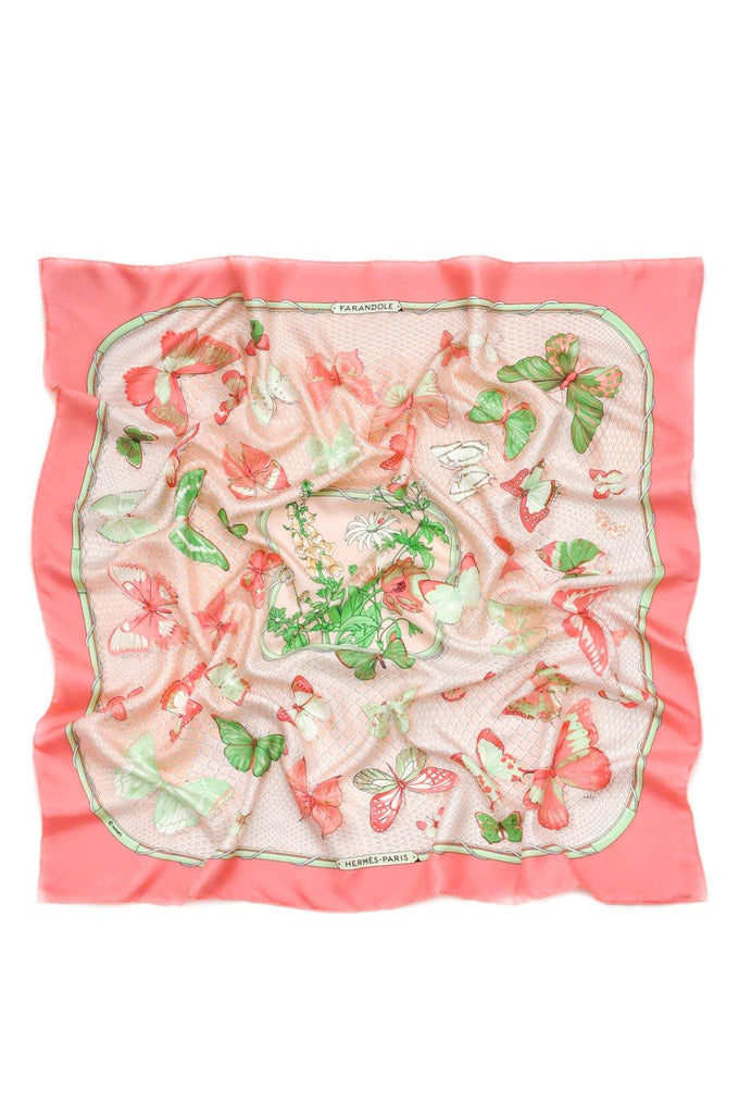 Hermés Pink Butterfly Square Scarf