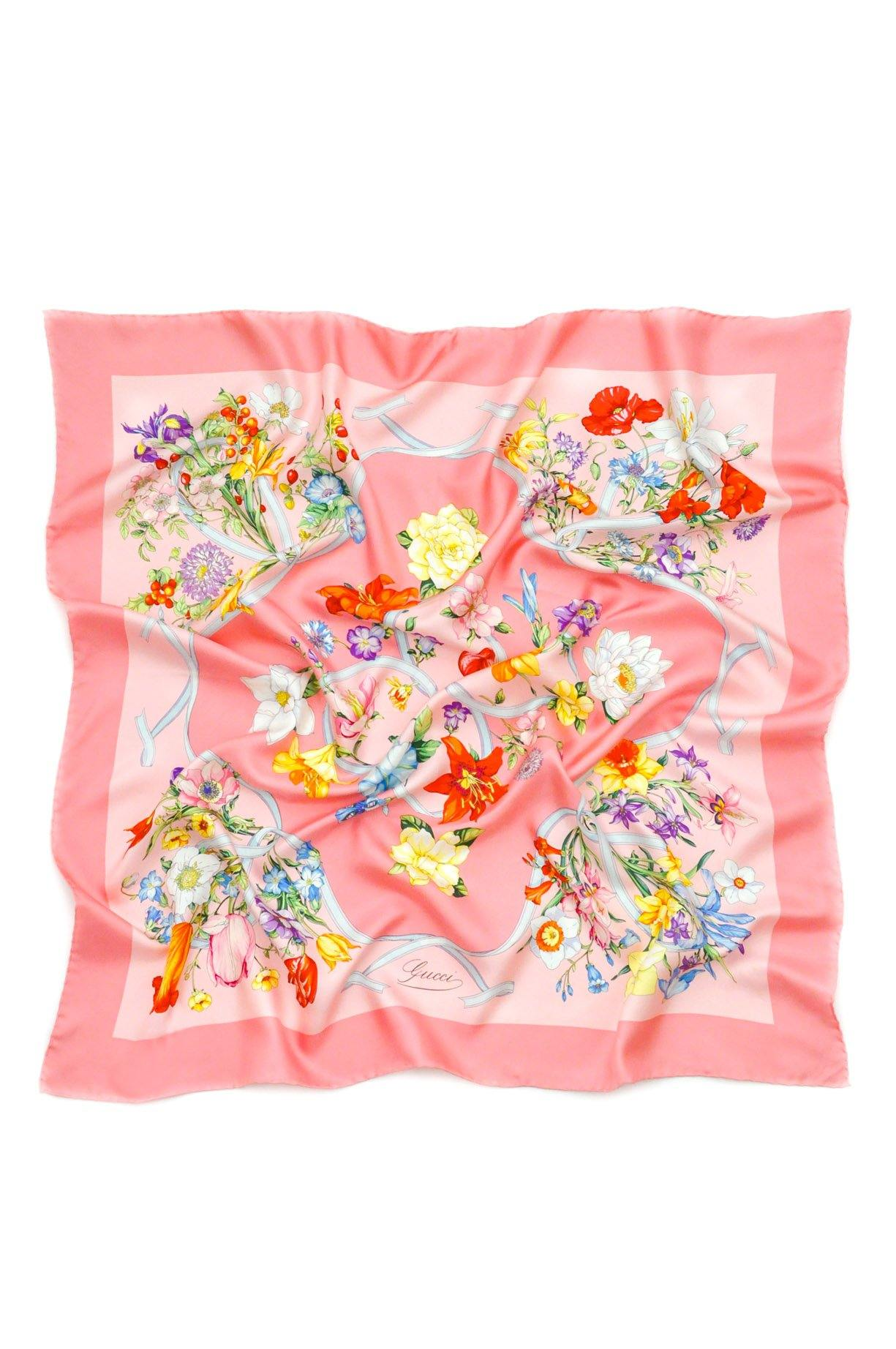 Gucci Pink Floral Square Scarf