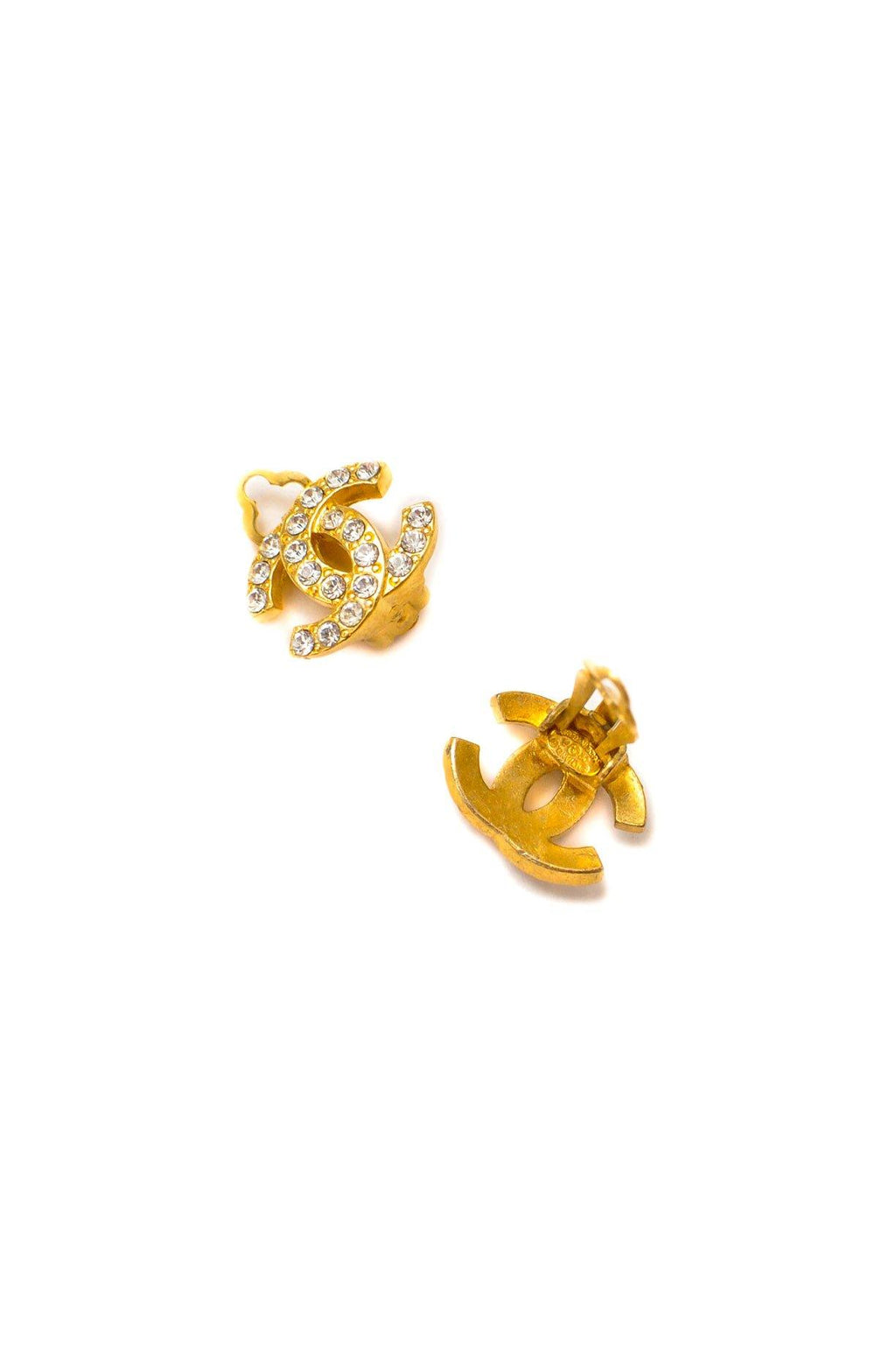 Chanel Rhinestone CC Clip-on Earrings