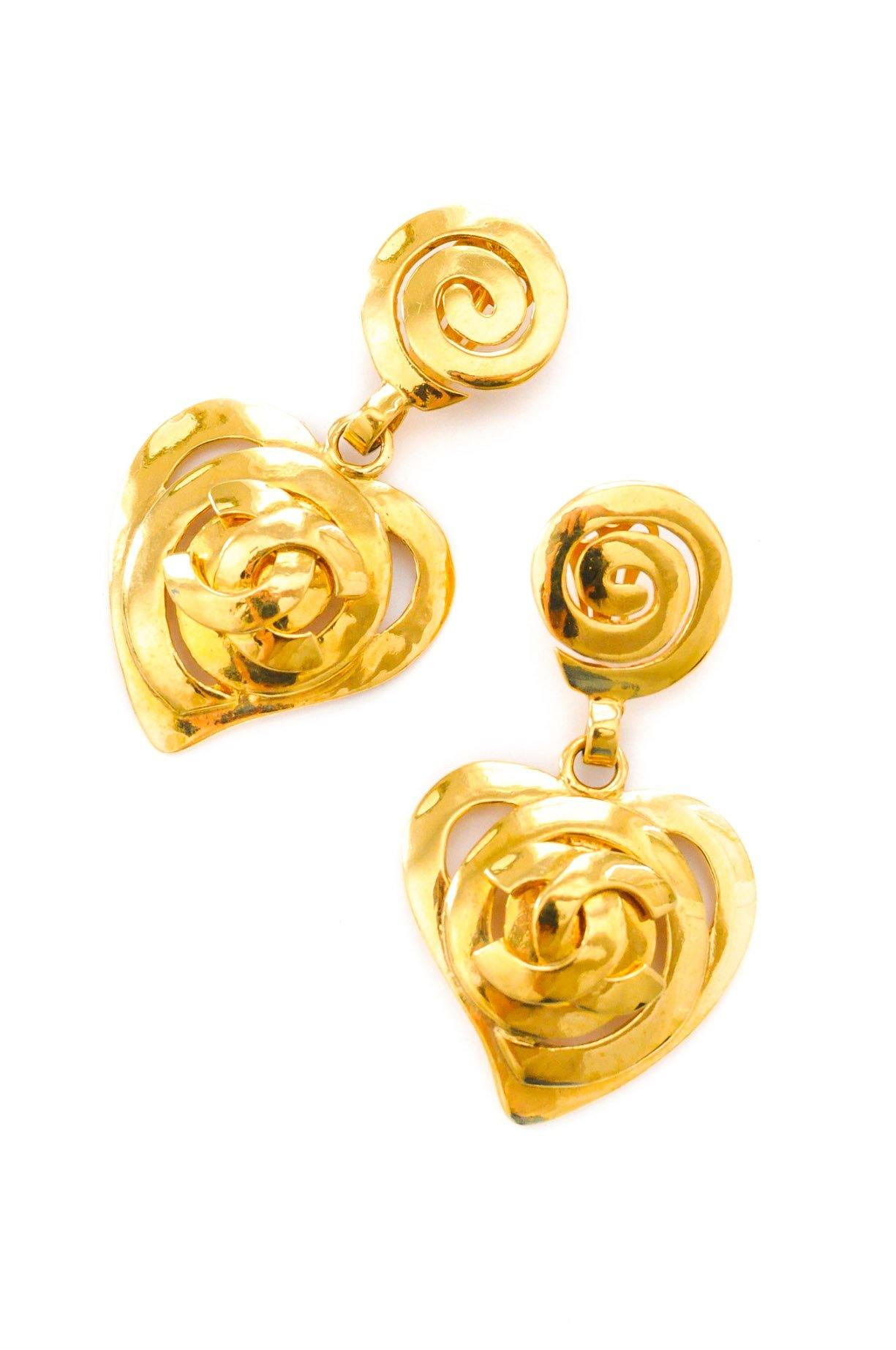 Chanel Heart Statement Clip-on Earrings