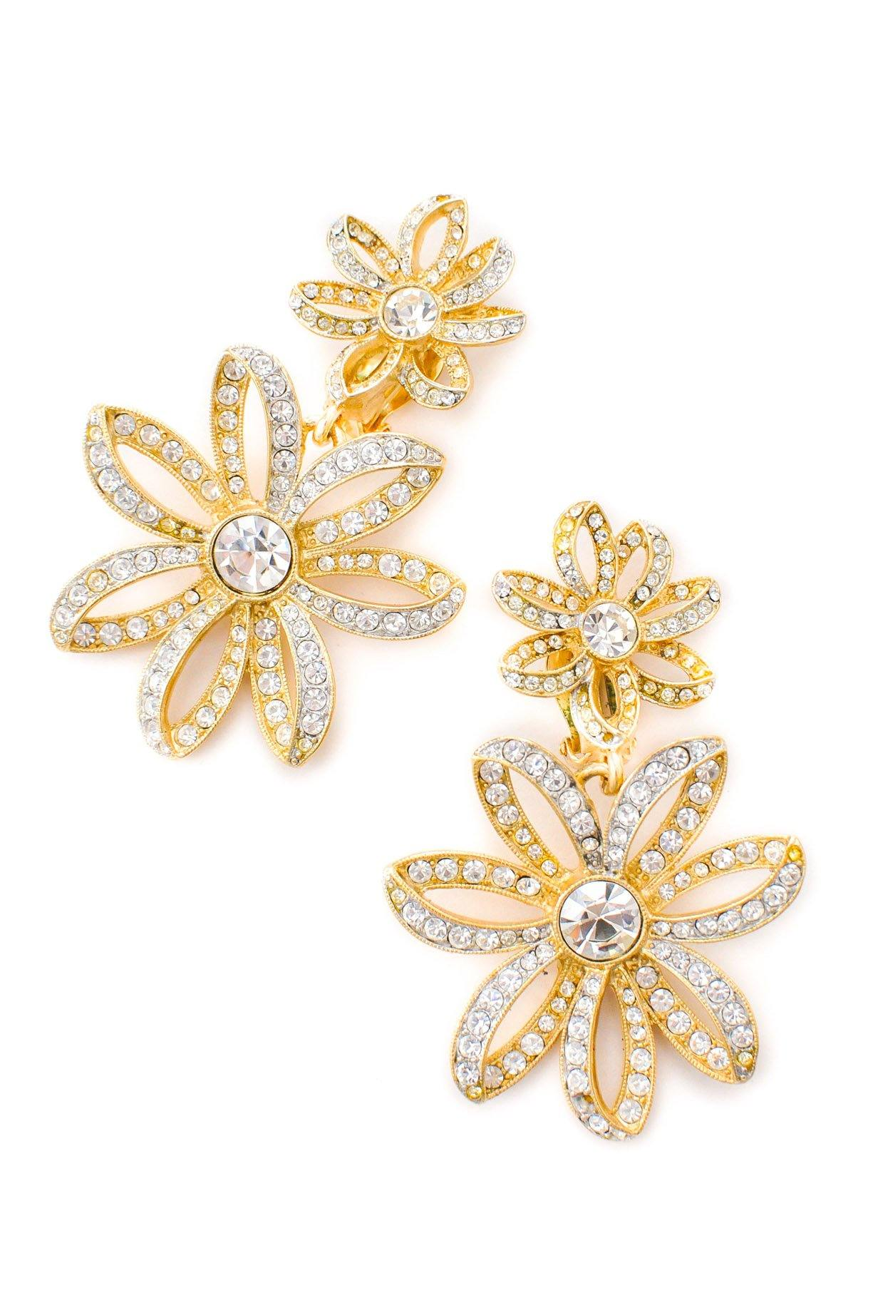 Givenchy Rhinestone Floral Clip-on Earrings