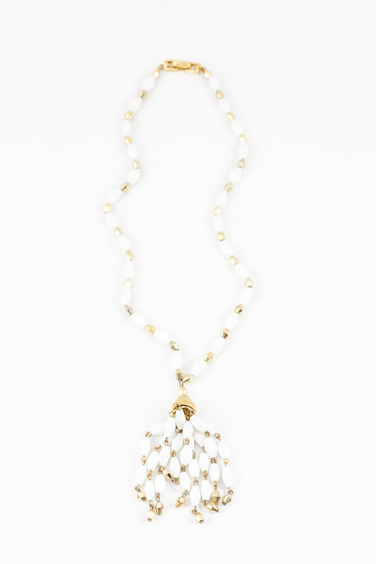 50's__Trifari__White & Gold Tassel Necklace