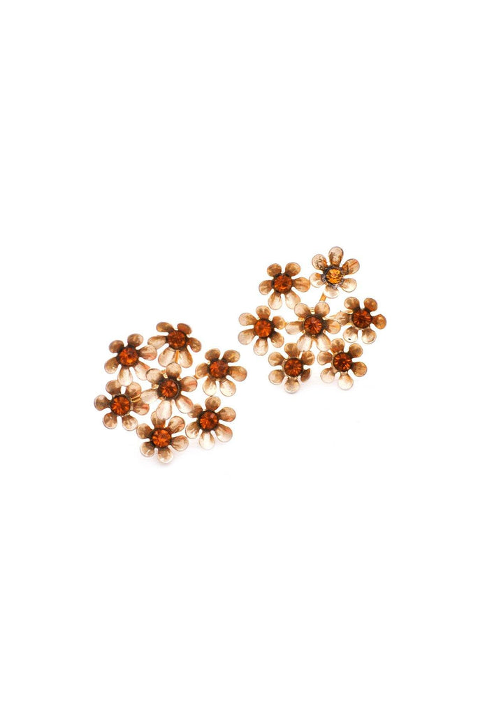 Amber Cluster Clip-on Earrings