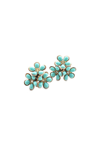 Teal Floral Burst Clip-on Earrings