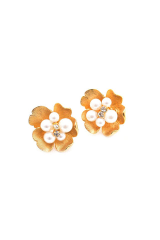 Pearl Burst Floral Clip-on Earrings