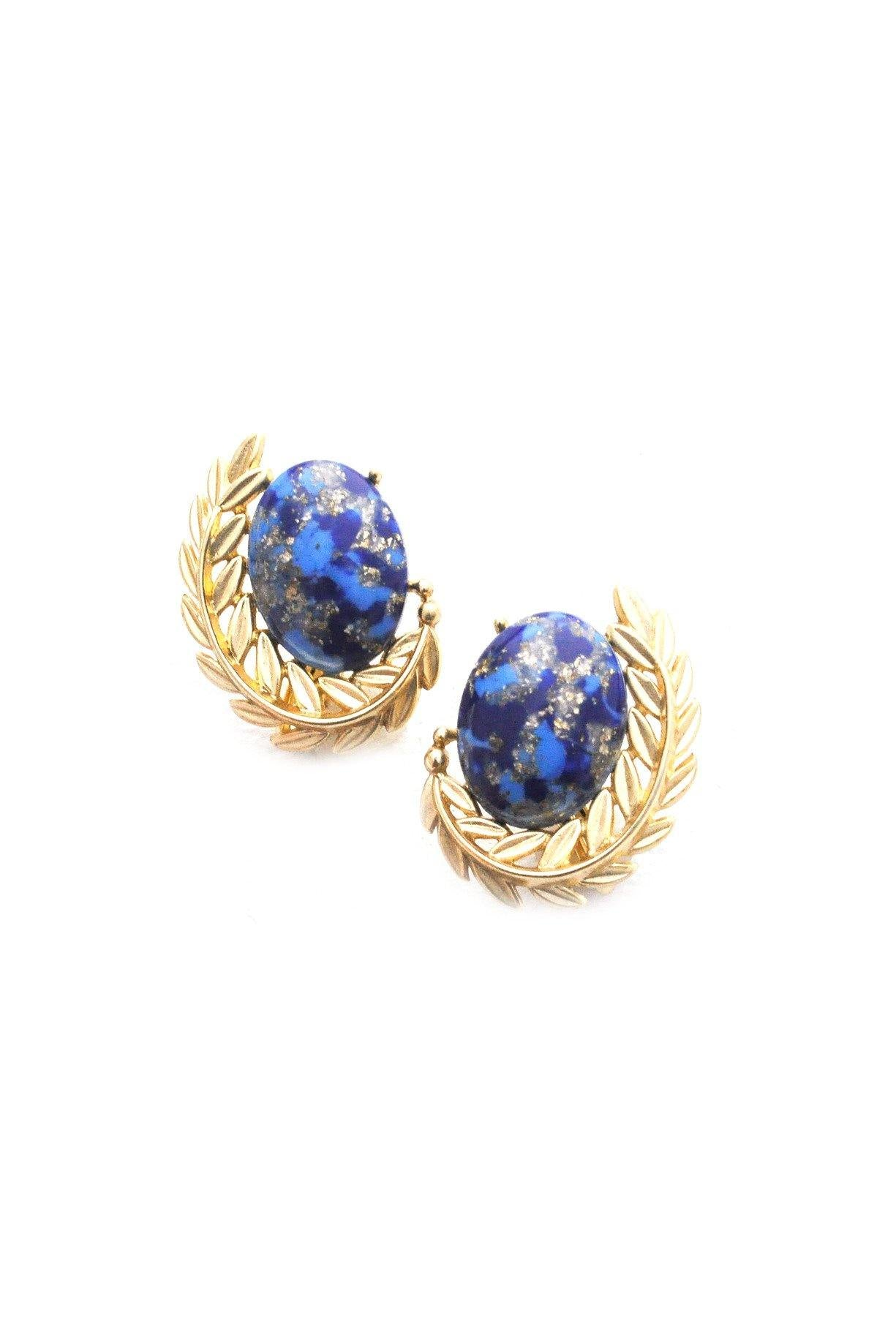 Blue Cabochon and Leaf Clip-on Earrings