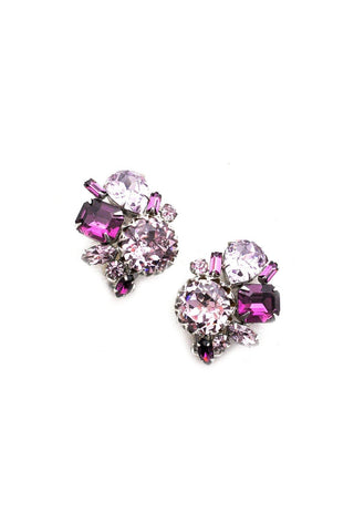 Chunky Purple Clip-on Earrings