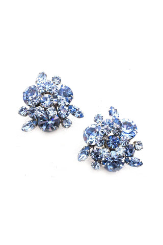 Chunky Blue Rhinestone Clip-on Earrings