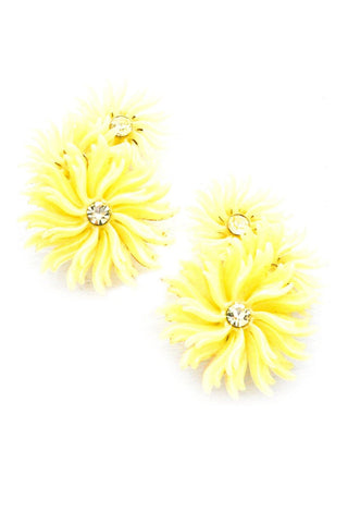 Yellow Floral Statement Clip-on Earrings