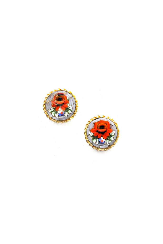 Floral Italian Micro Mosaic Clip-On Earrings