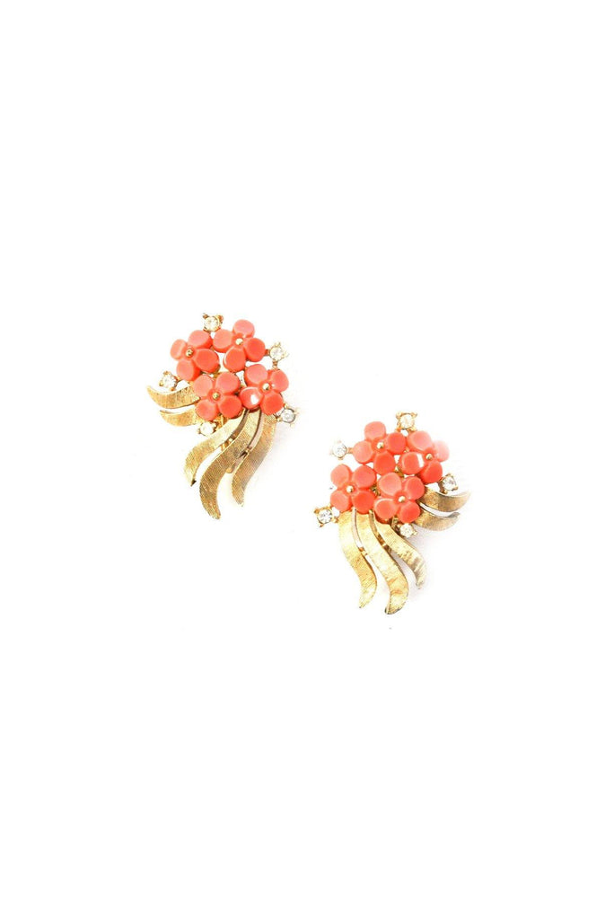 Coral Floral Crawler Clip-on Earrings