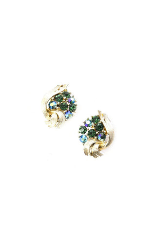 Green Rhinestone Crawler Clip-on Earrings