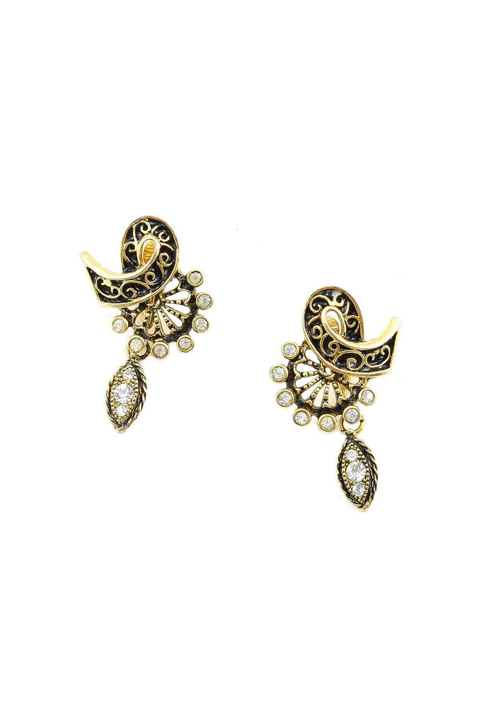 60's__Vintage__Rhinestone Drop Clip-On Earrings