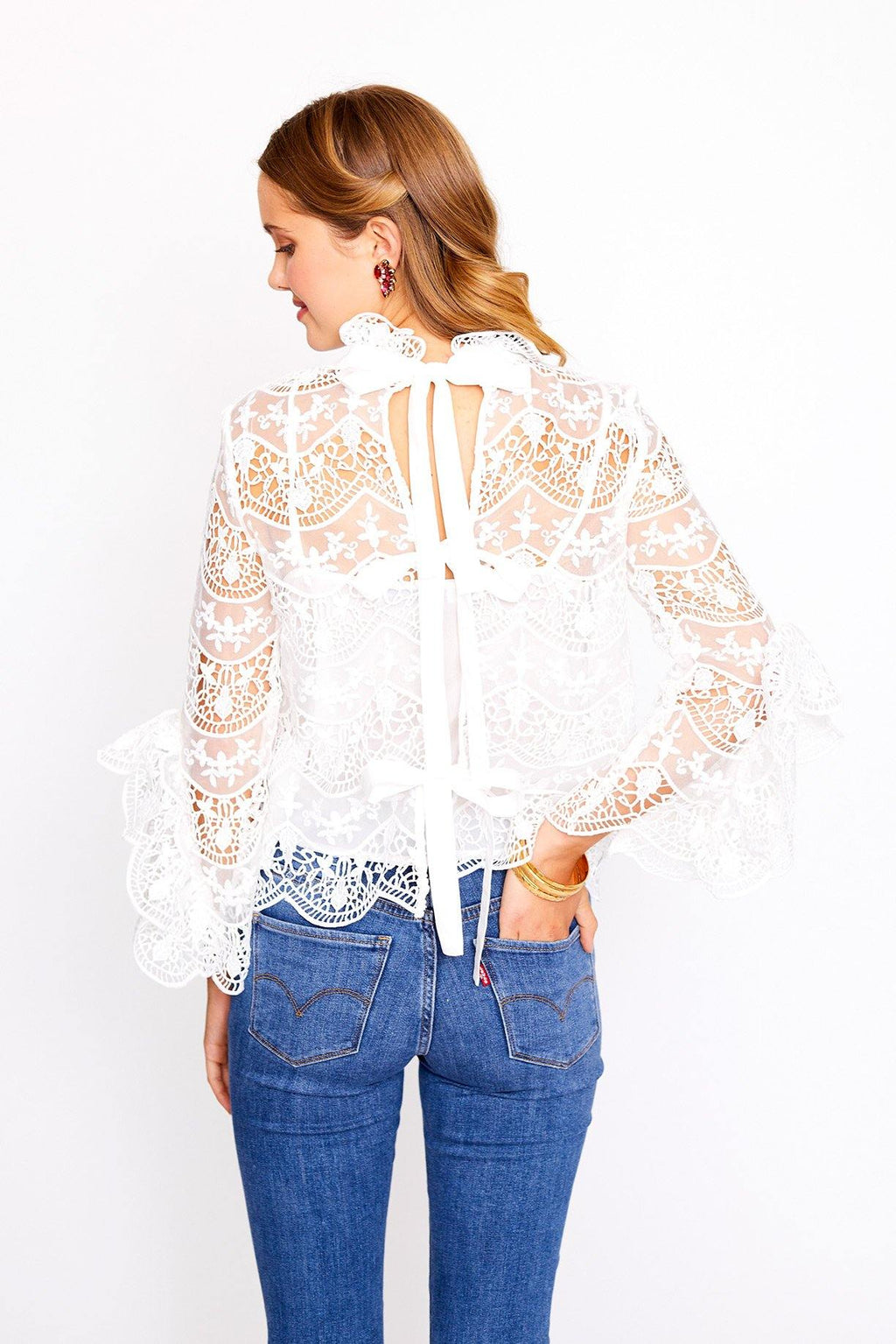 Crochet Lace Bell Sleeve Top