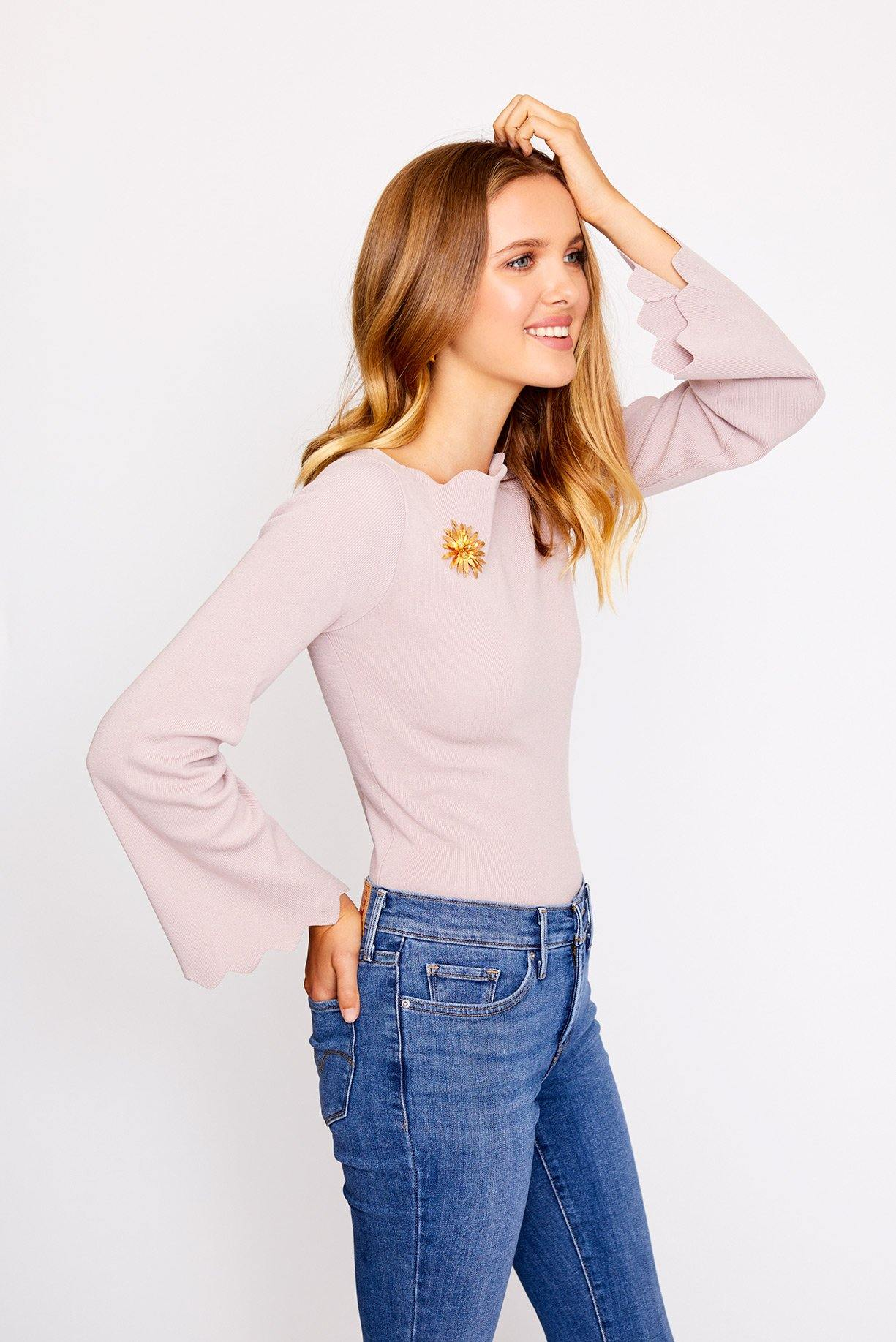 Scallop Sleeve Bell Top