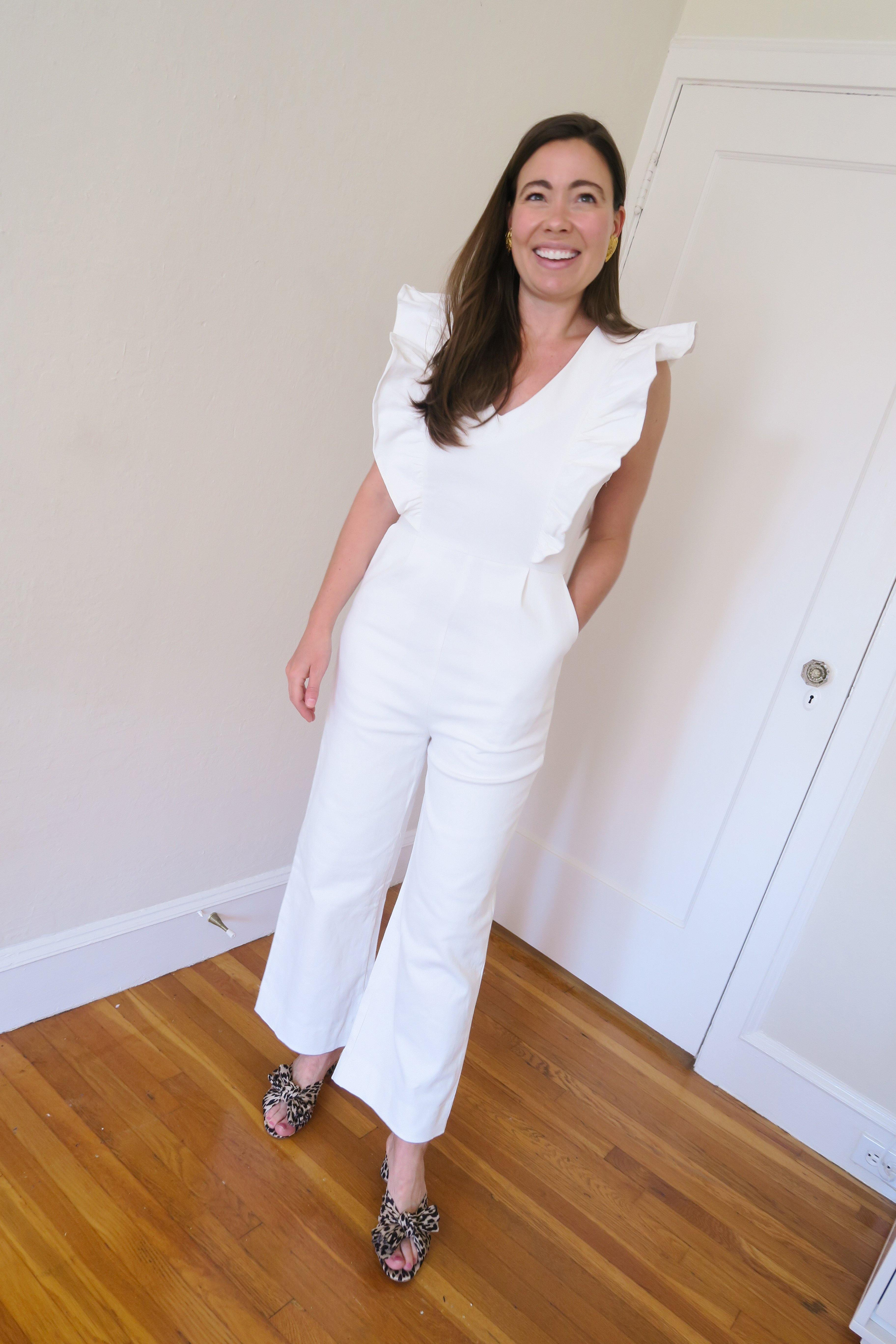En Saison White Ruffled Jumpsuit