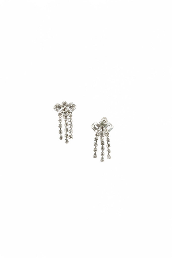 50's__Vintage__Rhinestone Drop Wedding Earrings