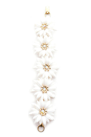 White Floral Statement Bracelet