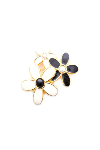 White and Black Floral Brooch