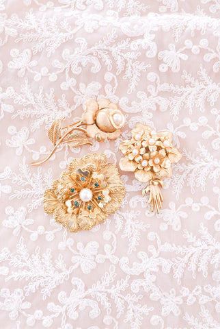 Pearl Rose Stem Brooch