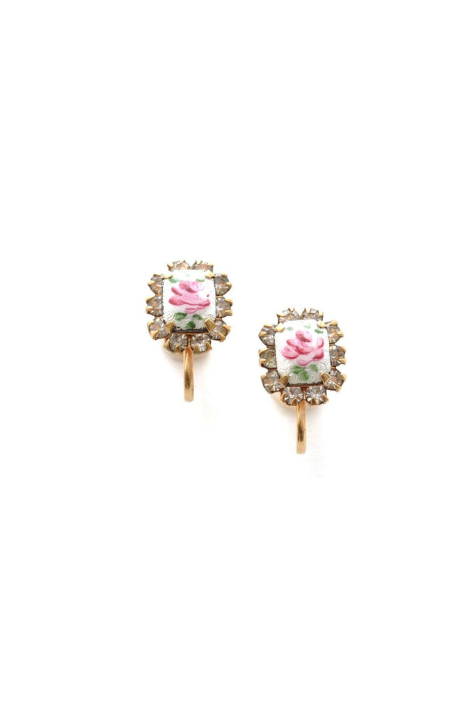 50s__Vintage__Floral Rhinestone Clip-On Earrings