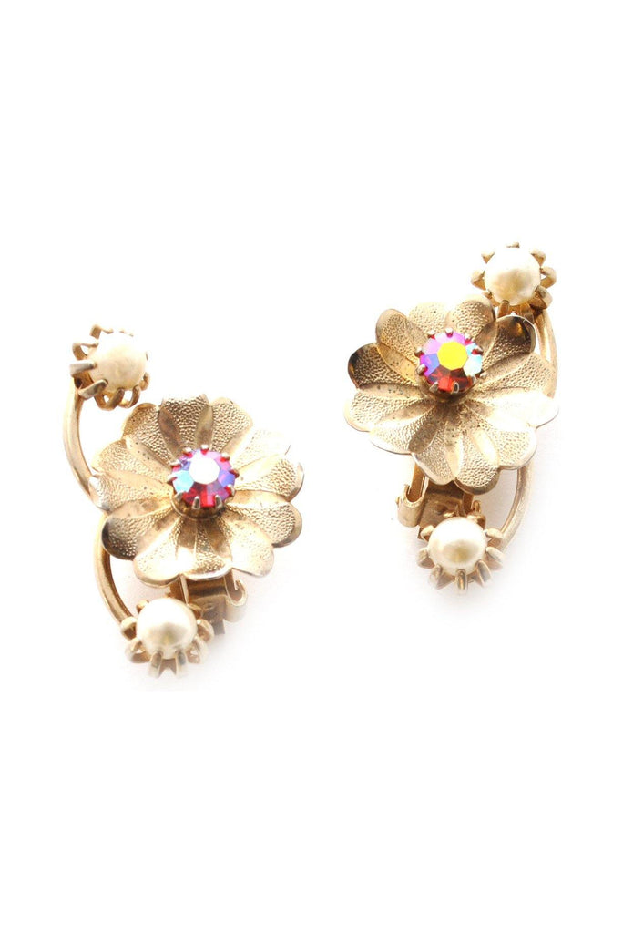 60s__Vintage__Floral Crawler Clip-On Earrings