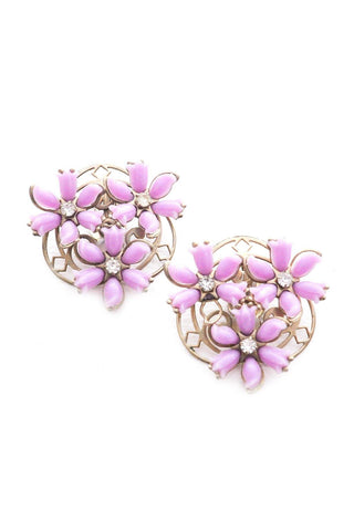 Purple Floral Statement Clip-on Earrings