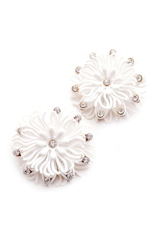 White Floral Statement Clip-on Earrings