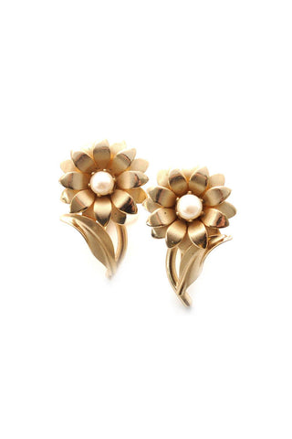 60s__Star__Floral Pearl Clip-On Earrings