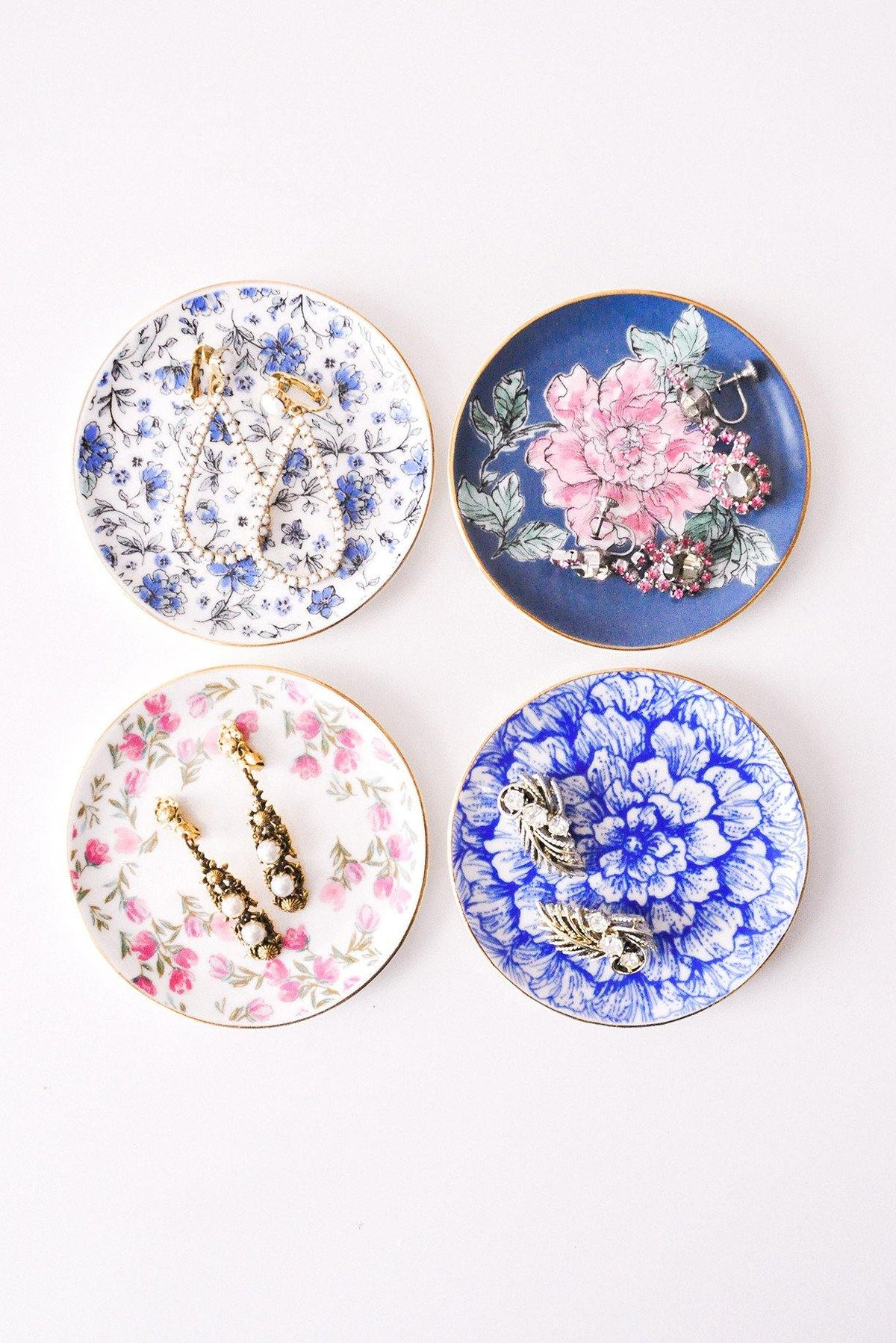 Vintage inspired floral jewelry dishes