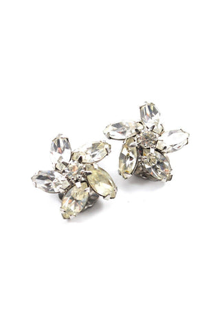 60s__Weiss__Floral Rhinestone Clip-On Earrings