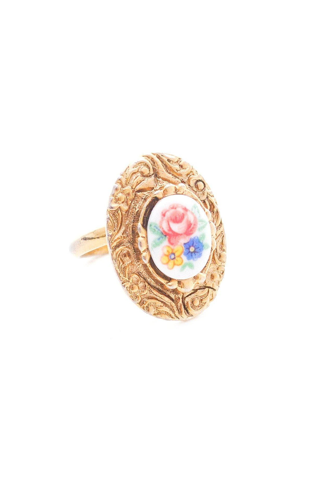 Adjustable Floral Scroll Ring