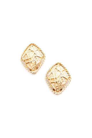 Gold Textured Clip-on Earrings