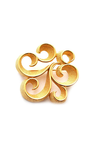 50s__Trifari__Gold Swirl Brooch