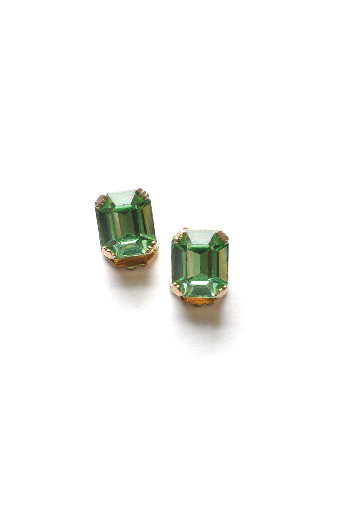 60s__Weiss__Green Rhinestone Clip-On Earrings
