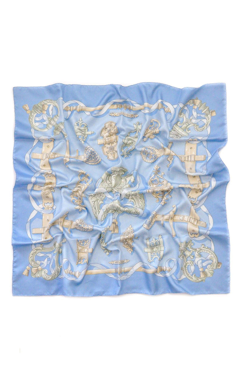 Hermès Light Blue Ferronnerie Scarf