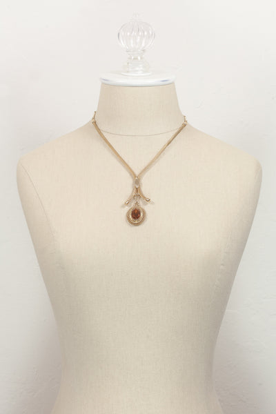 70's__Sarah Coventry__Amber Rhinestone Mesh Necklace
