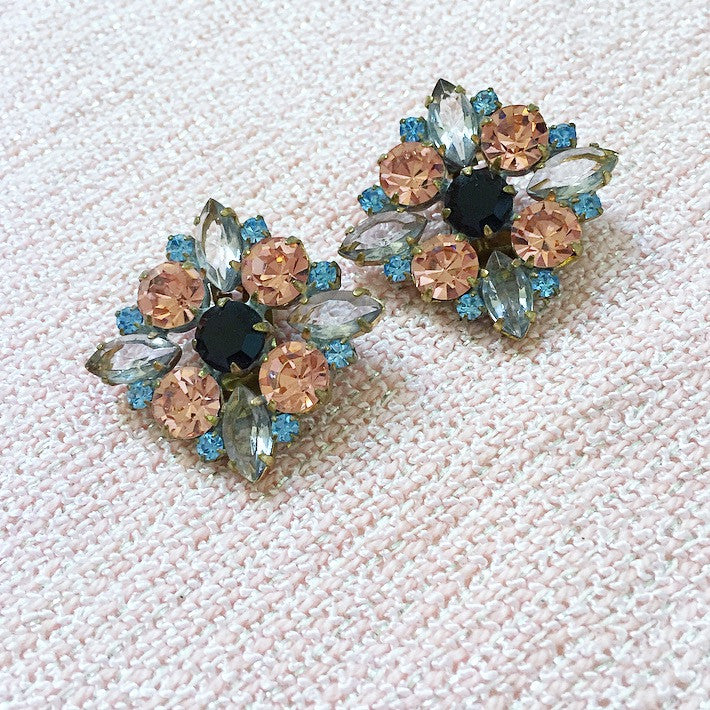 60's Black and Grey Clip-on Earrings