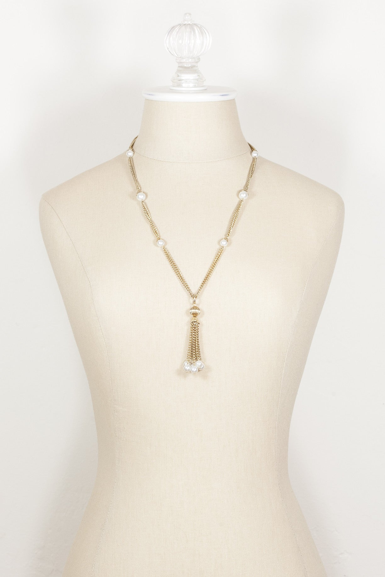 70's__Vintage__Classic Multi Chain Pearl Tassel Necklace