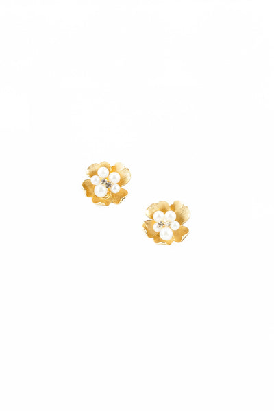 50's__Kramer__Gold Etched Flower Earrings