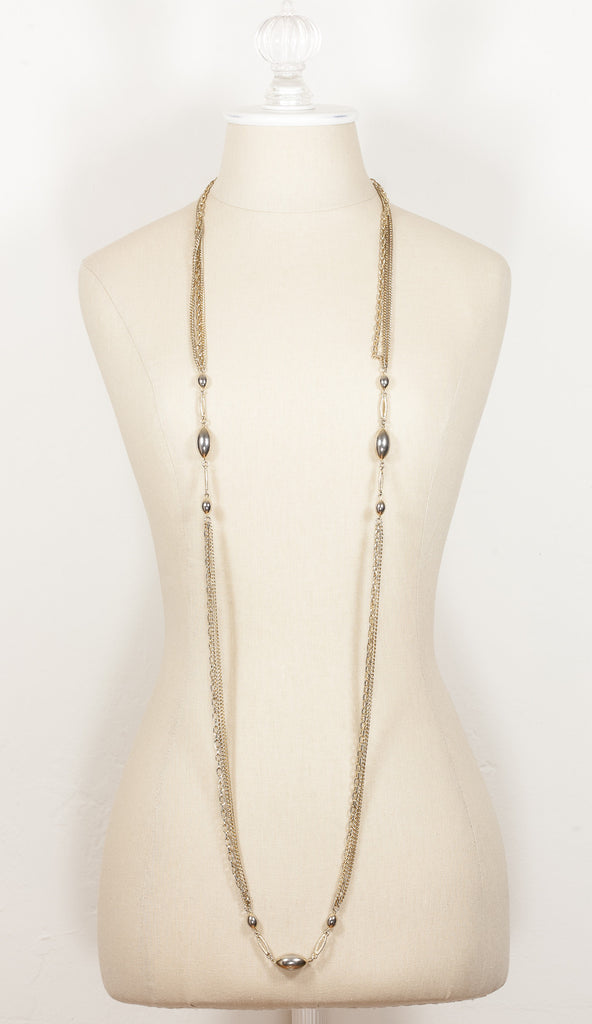 70's__Vintage__Extra Long Multi Chain Charm Necklace