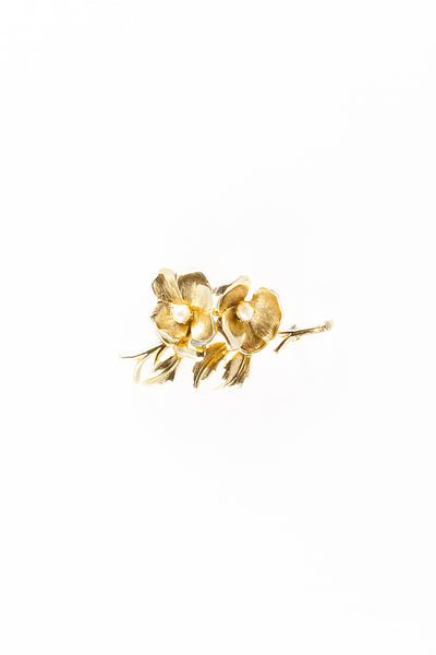 60's__ Brooks__Gold Flower Brooch
