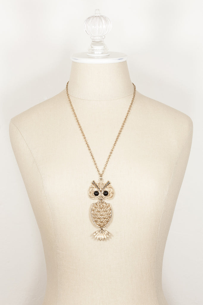 70's__Sarah Coventry__Owl Pendant Necklace