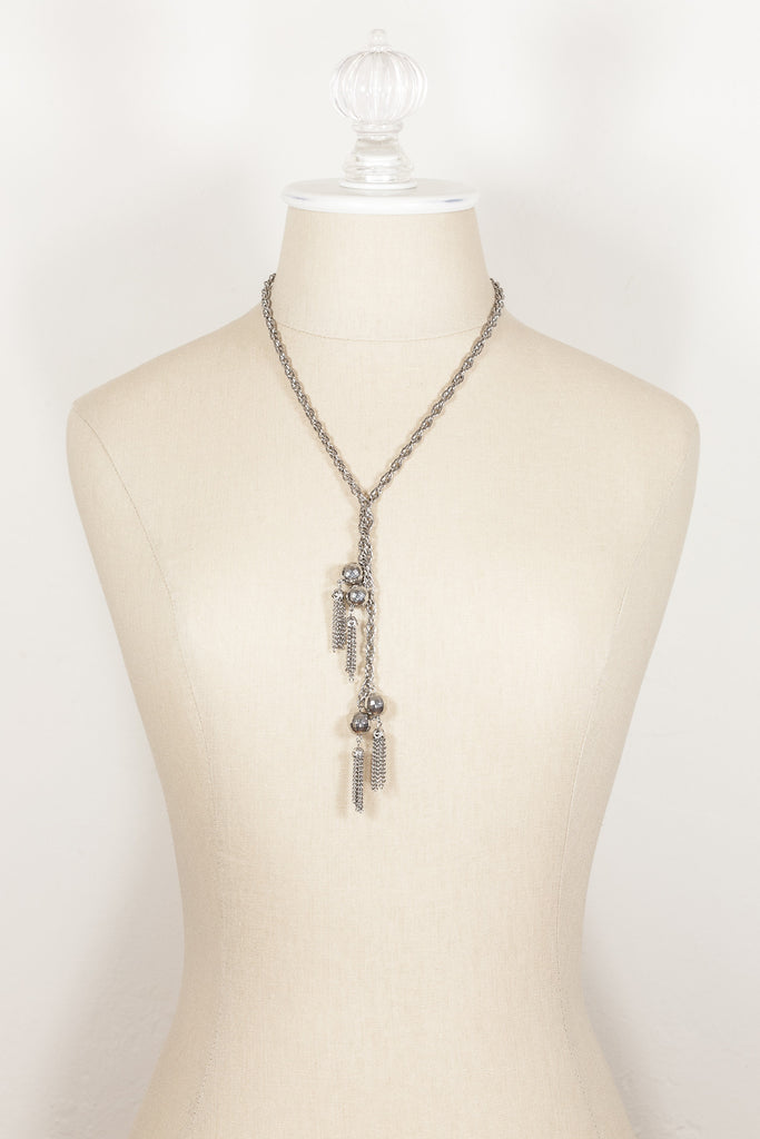 70's__Vintage__Silver Disco Tassel Necklace