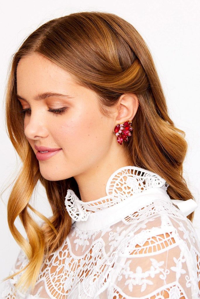 Feathered Rhinestone Statement Clip-on Earrings