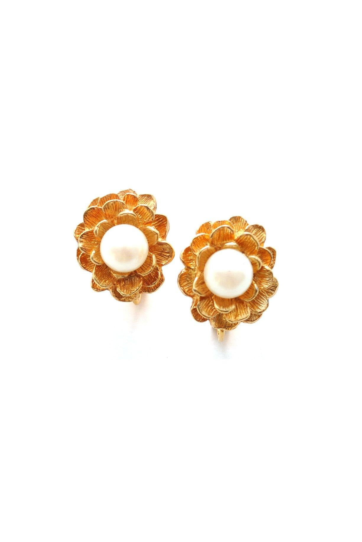 80s Marvella Floral Pearl Clip-On Earrings