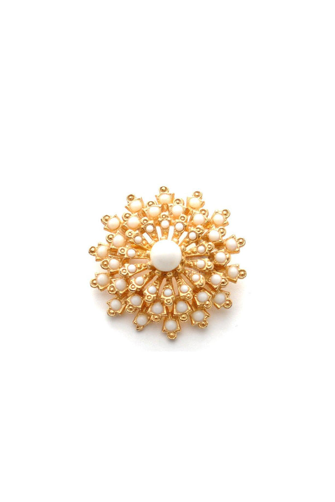 50s__Vintage__Milk Glass Burst Brooch