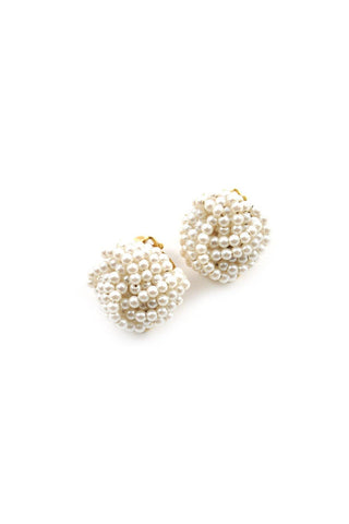 70s__Vintage__Pearl Stud Clip-On Earrings