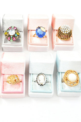 __Light Blue__The Mrs Box Vintage Velvet Ring Box